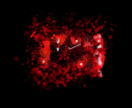 expressional: ,Spots, splashes and blots in an abstract background of red color. Raster horizontal image.