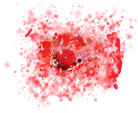 expressional: Spots, splashes and blots in an abstract background of red color. Raster horizontal image.