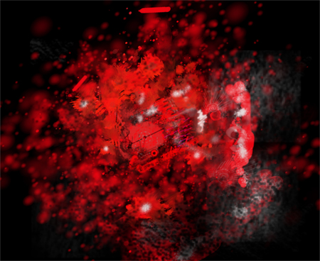 Spots, splashes and blots in an abstract background of red color. Raster horizontal image.