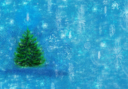 Winter background, snowflakes and fir-tree. Horizontal image.