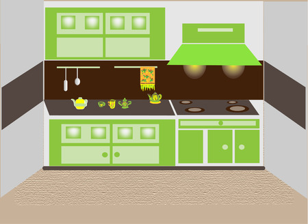 Fragment of kitchen furniture and ware. Vector illustration.