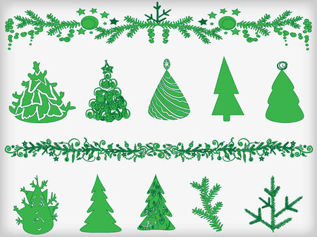 firtrees: Set of silhouettes of Christmas fir-trees and garlands. Vector illustration.