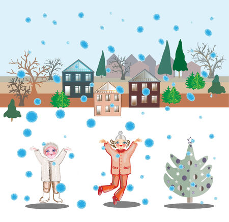 rejoice: Two girls rejoice to snowfall. An elegant fir-tree, houses and trees on a background.  New Years vector illustration.