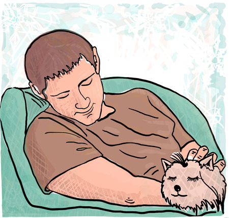 sleeps: The young man and the little, sleeping puppy. Vector illustration.