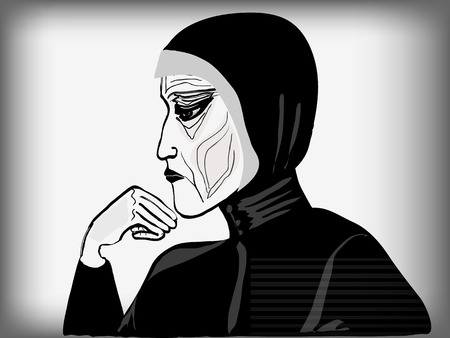 Profile of very old woman in black clothes. Vector illustration.
