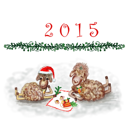 New Years raster illustration with two cheerful sheep. illustration