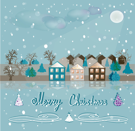 prerequisite: Houses and the surrounding nature on the night of Christmas.  Snowfall and the pale moon in a  illustration.
