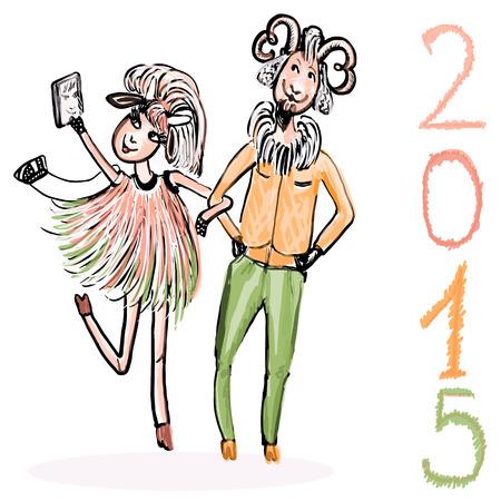 stylish couple: A couple of cheerful goats. Fashionable goat makes Selfie. Festive vector illustration.
