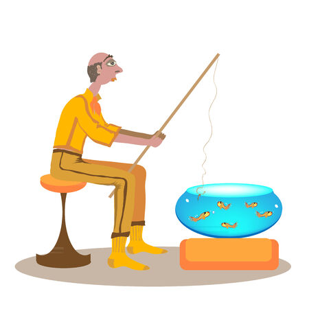 despondent: Lazy fisherman catches fish from an aquarium. Even the worm on a hook is dissatisfied.Vector illustration.