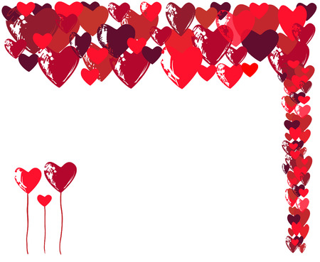 heaps: Abstract granzhevy hearts and the congratulatory text with Valentines Day.
