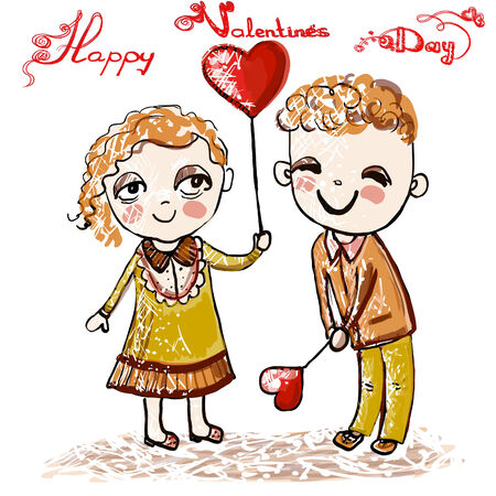 Two cheerful children on Valentines Day on February 14. Square vector animation. Vector