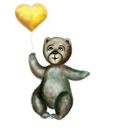 ourson: L'ourson tient un coeur jaune dans une patte. Raster horizontal illustration. Il est isol� sur le blanc.