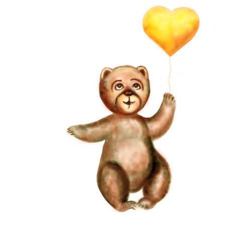 february 1: The bear cub holds a yellow heart in a paw. Horizontal raster illustration. It is isolated on the white. Stock Photo