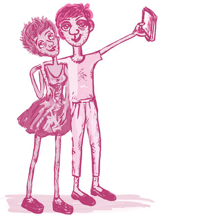 absurd: Comical, cheerful man and the woman take the picture of a selfie. Square vector illustration.