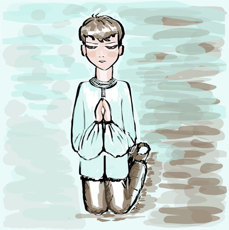 The boy the teenager is kneeling, having put prayerfully hands. Square vector illustration. Illustration