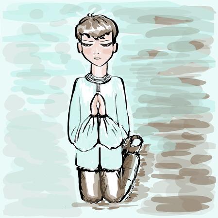 lamentation: The boy the teenager is kneeling, having put prayerfully hands. Square vector illustration. Illustration