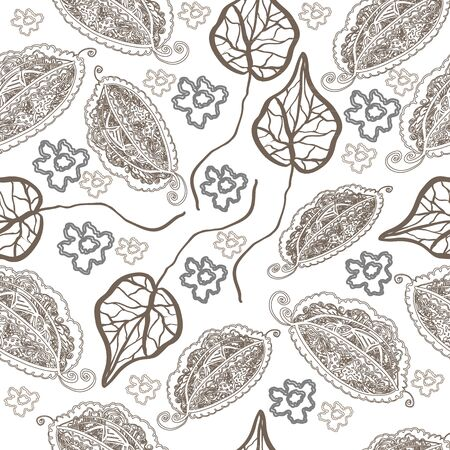 openwork: Seamless pattern with openwork, abstract foliage and simple flowers.