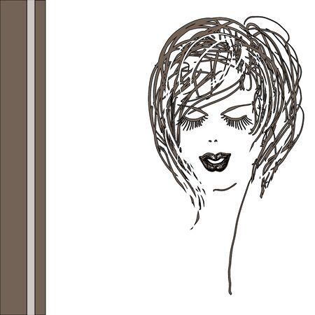 blindly: Cabeza de mujer a ciegas. Ilustraci�n vectorial Square.