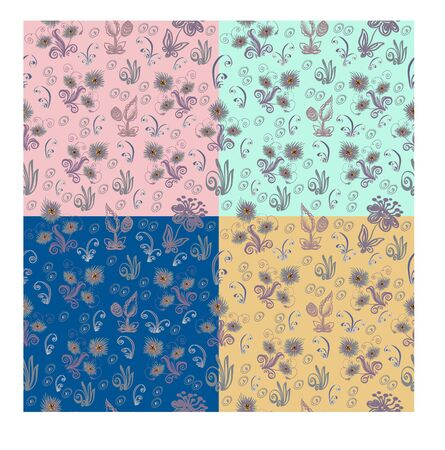stalks: Seamless pattern from abstract flowers, leaves, stalks and additional elements. Square vector illustration.