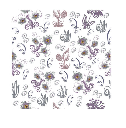additional: Seamless pattern from abstract flowers, leaves, stalks and additional elements. Square vector illustration.
