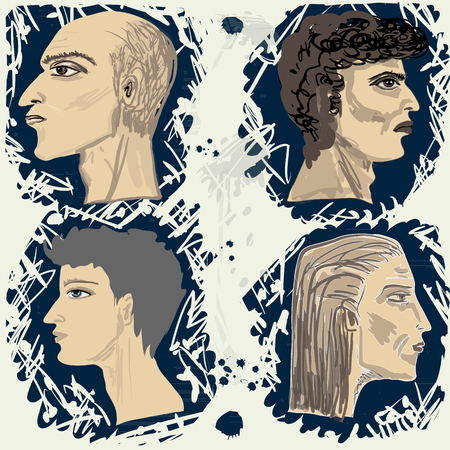 rnabstract: Set from four mans profiles. Square vector illustration. Illustration