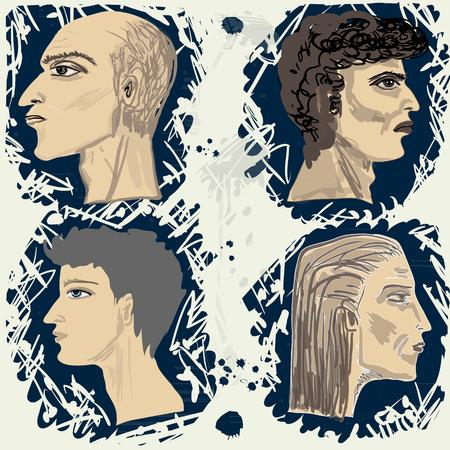 mature men: Set from four mans profiles. Square vector illustration. Illustration