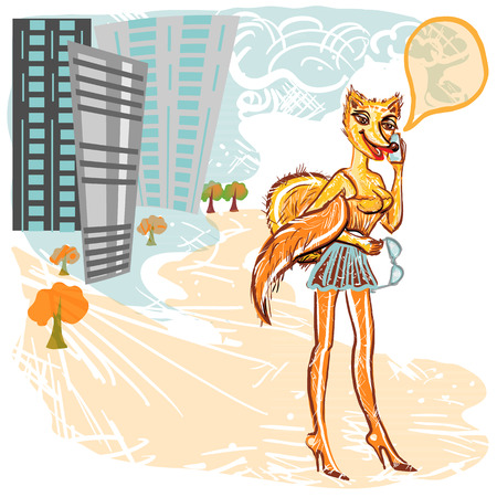 cheerfully: The stylized fox cheerfully speaks in the iPhone. On a background city, high-rise buildings and trees.  Square vector illustration.