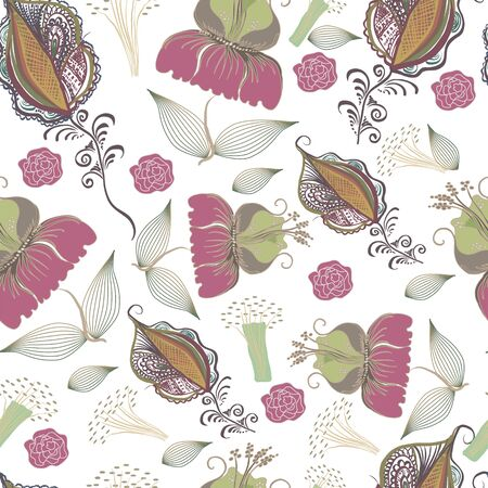 stalks: Seamless pattern from abstract flowers leaves stalks and additional elements. Square vector illustration.