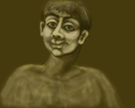 and the horizontal man: Portrait of the adult man. Horizontal illustration. Stock Photo