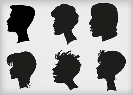 Set. Silhouettes of profiles of mans and female heads. Horizontal vector illustration.