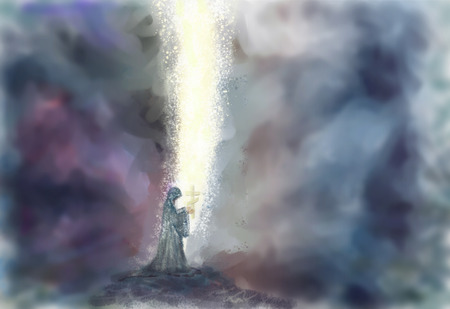 rises: The monk goes with a cross in hands and from his prayer the darkness parts. The prayer a fiery pillar rises to the sky. Horizontal illustration.