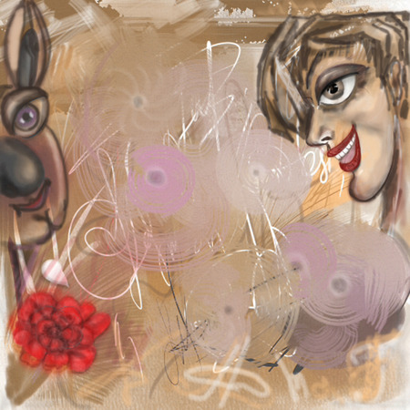 deliberately: Abstract background.Abstract female profile, the stylized hare, blots and spots.  Horizontal illustration.