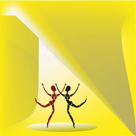 elongated: Two fragile female figures with elongated heads dancing on a yellow background.