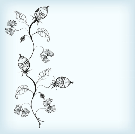plant delicate: Silhouette openwork plant with flowers and fruits on a blue backdrop. Vector illustration.