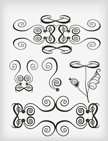 curlicues: The elements of the silhouettes of the curves, and curlicues. Vector illustration.