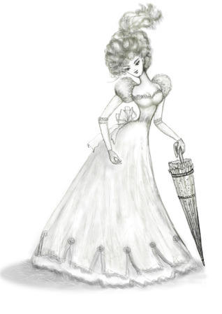 A woman in a long dress with an openwork umbrella - a cane. The image of the past Century. Vertical drawing.