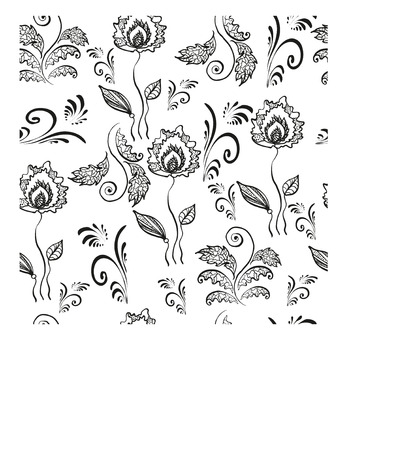 whites: Openwork, floral silhouettes of flowers and leaves in seamless, vector illustration.