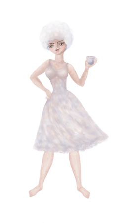A young girl stands up barefoot, without shoes. In a thin, flying dress, she holds in her hand a cup with a drink. Vertical illustration on white background.
