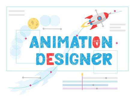 Animation designer vector lettering. Work at new art project. Flat design concept motion graphic, modeling artist job, video effect designer. Vector illustration