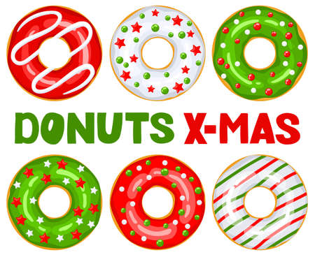 Christmas donuts set. Green, white, red donuts are decorated with sweet festive stars and balloons. Cartoon Christmas sweets. X-mas donuts - hand lettering. Vector illustration isolated on white. Vektorgrafik