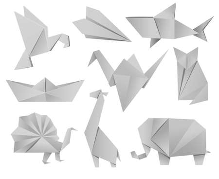 Origami animals set - bird, plane, crane, peacock, giraffe, boat, shark, fox, elephant.
