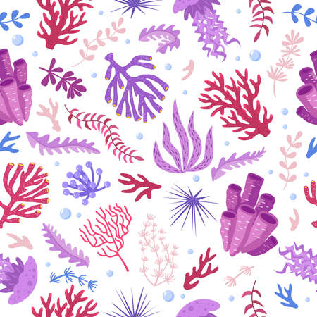Seamless pattern with marine fauna - corals, jellyfish, sea anemones, seaweed, sea urchin, bubbles. Vector illustration hand drawn style for fabrics, wallpaper, wrapping paper Ilustración de vector