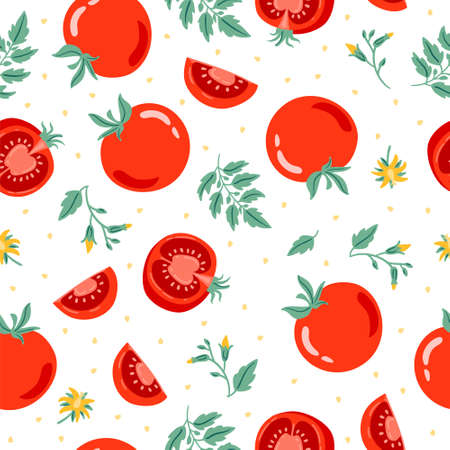 Red tomato seamless pattern vector illustration. Cut tomato, tomato slice, leaves, flowers and tomato seeds. Cartoon vegetable for fabric, tablecloth, kitchen textiles, for clothing, wrapping paper Ilustración de vector