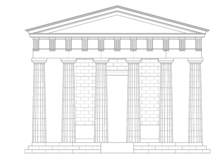 roman pillar: Classic temple Illustration