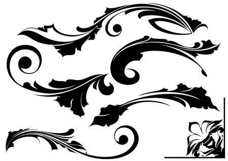 scroll background: design elements Illustration