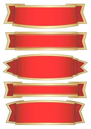 gold banner: set of 5 red banners