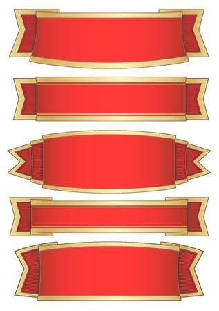 set van 5 rode banners