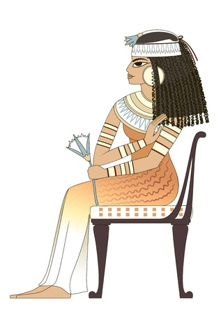 elegant woman in ancient egypt 向量圖像