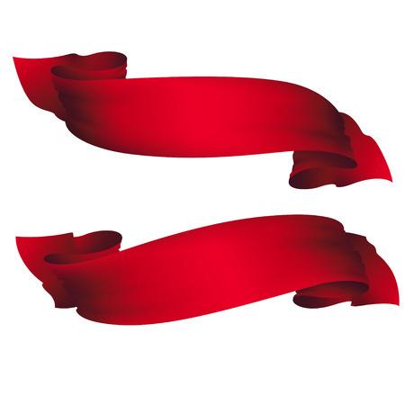 golvende rode banners, vector set