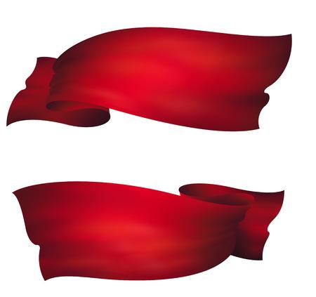 波状の赤いバナー、ベクトルを設定  イラスト・ベクター素材